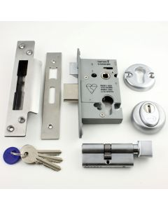 Euro Profile Cylinder Sash Lock - Key / Thumb-Turn Operated BS 8621 Rated - Satin Stainless Steel