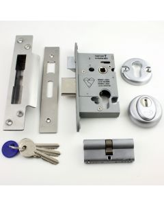 Euro Profile Cylinder Sash Lock - Key / Key Operated BS 3621 Rated - Satin Stainless Steel