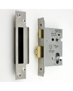 Architectural Quality Euro Profile Mortice Sash Lock Case - Satin (Brushed) Stainless Steel