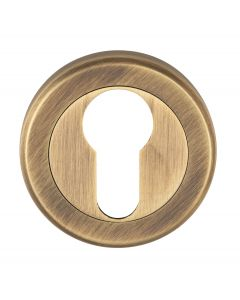 Euro Profile Escutcheon On Concealed Fix Round Rose - Antique Brass