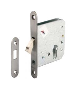 Euro Profile Hook Dead Lock For Sliding Doors - Satin Stainless Steel