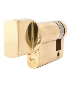 Euro Profile Single Cylinder - Thumb-Turn Only - 45mm Length - Polished Brass