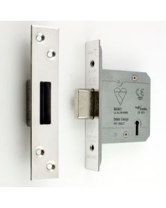 BS Rated - 5 Lever British Standard Kite Marked Mortice Dead Lock - Polished Stainless Steel - (Shiny Finish)