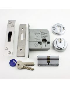 Euro Profile Cylinder Deadlock - Key / Key Operated BS 3621 Rated - Satin Stainless Steel