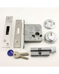 Euro Profile Cylinder Deadlock - Key / Thumb-Turn Operated BS 8621 Rated - Satin Stainless Steel