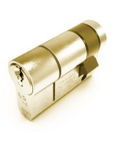 TS007 1 Star Rated - BS Kitemarked - 6 Pin Anti Snap Euro Profile Single Half Cylinders - High Security Range - Polished Brass