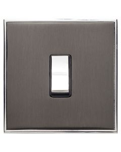 Executive Concealed Fix Plate Light Switch & Socket Range - Flat Screwless Plate With Squared Edges - Black Nickel Plate With Polished Chrome Trim