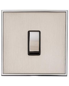 Executive Concealed Fix Plate Light Switch & Socket Range - Flat Screwless Plate With Squared Edges - Satin Nickel Plate With Polished Chrome Trim