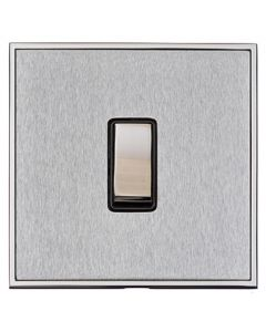 Executive Concealed Fix Plate Light Switch & Socket Range - Flat Screwless Plate With Rounded Edges - Satin Chrome Plate With Polished Chrome Trim