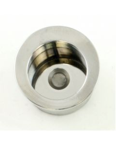 Circular Flush Fitting Edge Pull - 30mm Diameter x 20mm Depth - Polished Stainless Steel