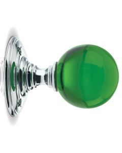 Glass Ball Mortice Knob - Green Glass/Polished Chrome Rose