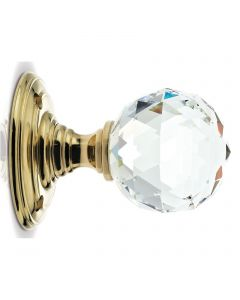 Glass Ball Mortice Knob - Clear Glass/Polished Brass - Faceted Design