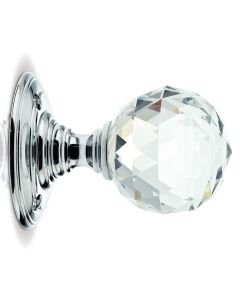 Glass Ball Mortice Knob - Clear Glass/Polished Chrome - Faceted