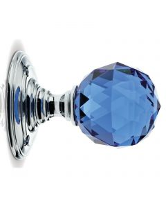 Glass Ball Mortice Knob - Blue Glass/Polished Chrome - Faceted