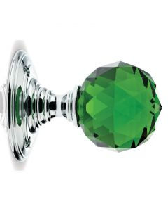 Glass Ball Mortice Knob - Green Glass/Polished Chrome - Faceted