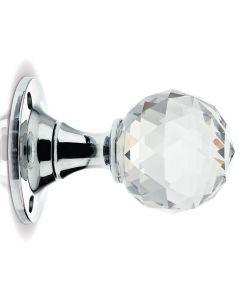 Glass Ball Mortice Knob - Clear Glass/Polished Chrome