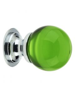 Green Glass Ball Shape Cupboard Knobs - 2 Sizes - With Polished Chrome Rose