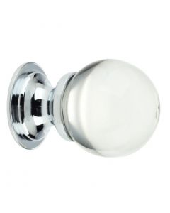 Clear Glass Ball Shape Cupboard Knobs - 2 Sizes - With Polished Chrome Rose