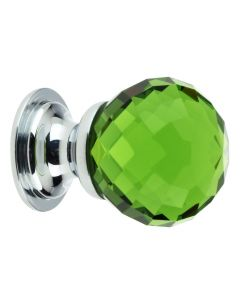 Green Glass Faceted Shape Cupboard Knobs - 2 Sizes - With Polished Chrome Rose