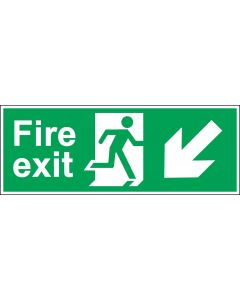 Fire Exit Door Sign - Green & White 1.2mm Rigid Plastic - Running Man With Down and Left Arrow