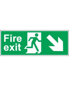 Fire Exit Door Sign - Green & White 1.2mm Rigid Plastic - Running Man With Down and Right Arrow