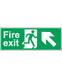 Fire Exit Door Sign - Green & White 1.2mm Rigid Plastic - Running Man With Up and Left Arrow