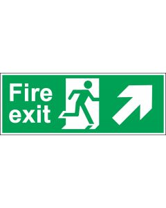 Fire Exit Door Sign - Green & White 1.2mm Rigid Plastic - Running Man With Up and Right Arrow