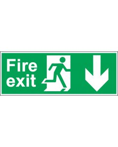 Fire Exit Door Sign - BS 5499 Approved - Green & White 1.2mm Rigid Plastic - Running Man With Down Arrow