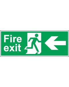 Photoluminescent Fire Exit Door Sign - Green & White 1.2mm Rigid Plastic - Running Man With Left Arrow