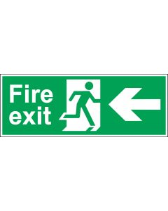 Fire Exit Door Sign - BS 5499 Approved - Green & White 1.2mm Rigid Plastic - Running Man With Left Arrow