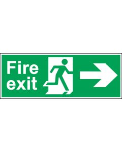 Fire Exit Door Sign - BS 5499 Approved - Green & White 1.2mm Rigid Plastic - Running Man With Right Arrow