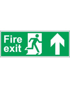 Fire Exit Door Sign - BS 5499 Approved - Green & White 1.2mm Rigid Plastic - Running Man With Up Arrow