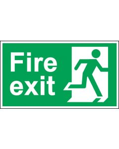 Fire Exit Door Sign - BS 5499 Approved - Green & White 1.2mm Rigid Plastic - Running Man With No Arrow