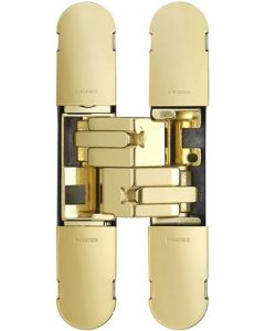 Fire Rated Concealed Adjustable Hinge For Invisible Doors - Tested To FD30 / FD60 - 160mm x 32mm - Polished Brass Plated