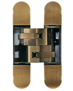 Fire Rated Concealed Adjustable Hinge For Invisible Doors - Tested To FD30 / FD60 - 160mm x 32mm - Antique Brass