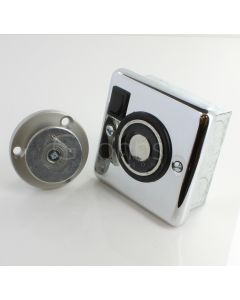 Flush Mounted Electro-Magnetic Fire Door Holder - 24v DC - With Manual On / Off Switch - Supplied With Armature Plate - Polished Chrome