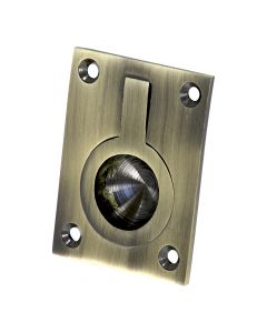 Flush Fitting Rectangular Ring Pull - Available In Two Sizes - Dark Antique Brass