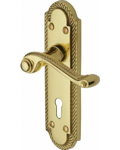 Gainsborough Lever Door Handles On A Backplate - Polished Brass - Suitable For Use With FD30 / FD60 Fire Doors