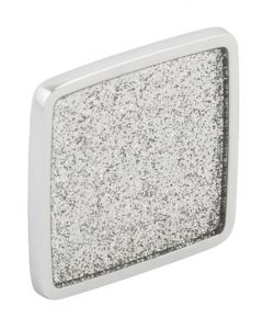 Glitter Square Cupboard / Drawer Knob - 57mm x 57mm (16mm Fixing Centres) - Polished Chrome