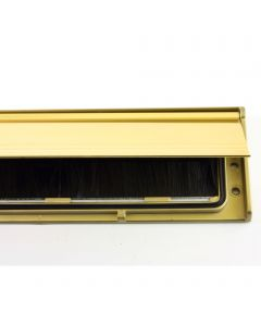 Letterbox Draught Seal - Internal Letter Plate Brush Seal With Sprung Flap - 292mm x 75mm - Polished Gold Flap