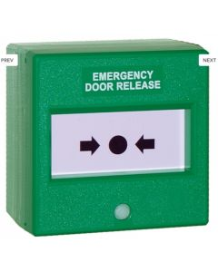 "Resettable Call Point Single Pole ""EMERGENCY DOOR RELEASE"" - Green"