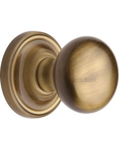Hampstead Round Mortice Knobs - Antique Brass