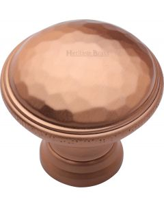 Hand Beaten Design Cabinet knob - 32mm - Satin Copper