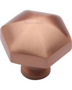 Hexagon Design Cabinet knob - 32mm - Satin Copper