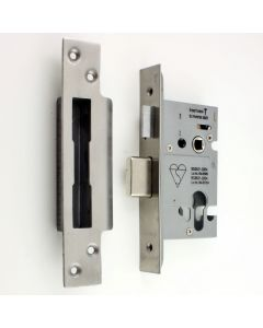 High Security Euro Profile Cylinder Sash Lock Case - Satin Stainless Steel