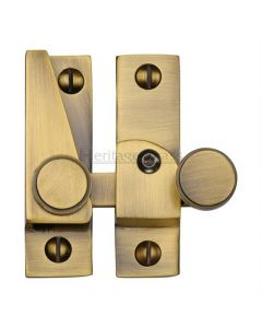 Hook Plate Sash Fastener With Button Knob - Antique Brass