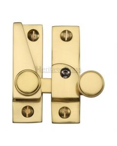 Hook Plate Sash Fastener With Button Knob - Polished Brass