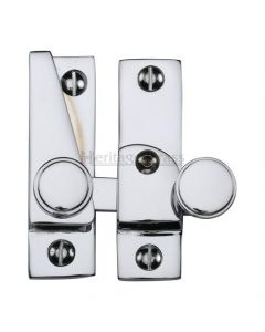 Hook Plate Sash Fastener With Button Knob - Polished Chrome