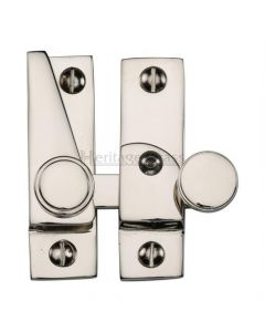 Hook Plate Sash Fastener With Button Knob - Polished Nickel
