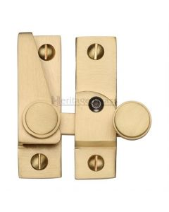 Hook Plate Sash Fastener With Button Knob - Satin Brass